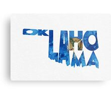 Oklahoma Typographic Map Flag Metal Print