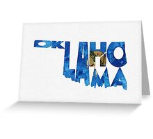 Oklahoma Typographic Map Flag Greeting Card