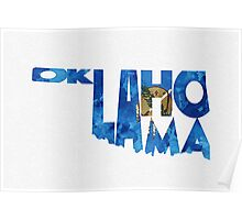 Oklahoma Typographic Map Flag Poster
