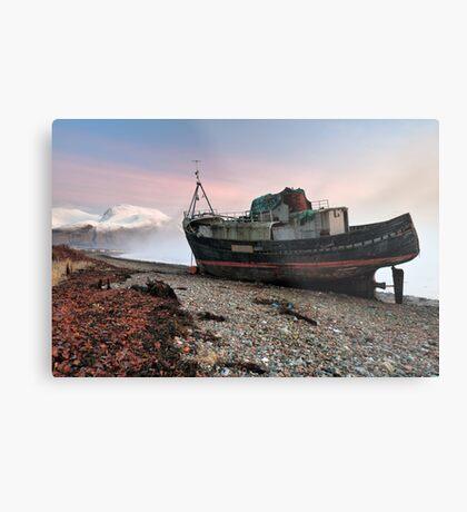Loch Linnhe Misty Boat Sunset Metal Print