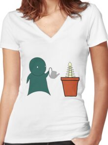 Grow A Spine Women's Fitted V-Neck T-Shirt