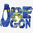 Oregon Typographic Map Flag by A. TW