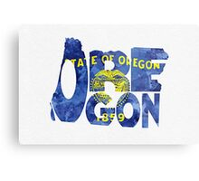 Oregon Typographic Map Flag Metal Print