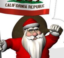 Santa Claus With Flag Of California Sticker