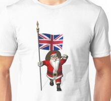 Santa Claus With Flag Of The United Kingdom Unisex T-Shirt