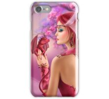 Beautiful fantasy woman queen and red dragon sakura background iPhone Case/Skin