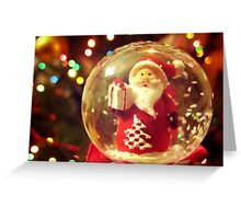 Snow Globe Santa Greeting Card