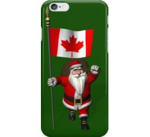 Santa Claus With Flag Of Canada iPhone Case/Skin