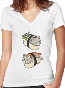 Funny Cat Sushi Roll Kitten Pussy Rescue Gift  Women's Fitted V-Neck T-Shirt