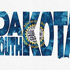 South Dakota Typographic Map Flag by A. TW