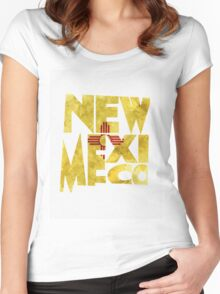 New Mexico Typographic Map Flag Women's Fitted Scoop T-Shirt