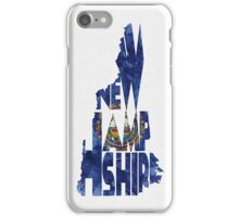 New Hampshire Typographic Map Flag iPhone Case/Skin