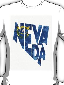 Nevada Typographic Map Flag T-Shirt