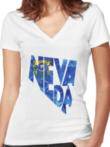 Nevada Typographic Map Flag Women's Fitted V-Neck T-Shirt