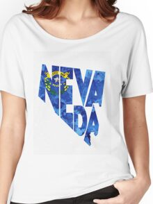Nevada Typographic Map Flag Women's Relaxed Fit T-Shirt