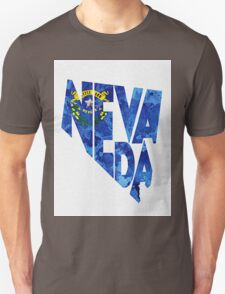 Nevada Typographic Map Flag Unisex T-Shirt