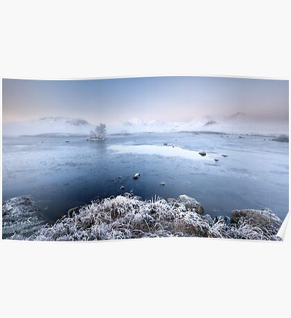 Black Mount Misty Winter Sunrise Poster