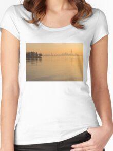 Soft Gold - Toronto Skyline In Velvety Morning Mist Women's Fitted Scoop T-Shirt