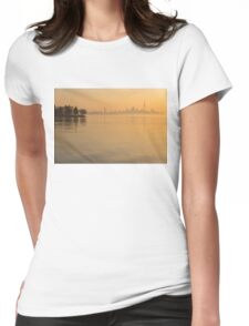 Soft Gold - Toronto Skyline In Velvety Morning Mist Womens Fitted T-Shirt