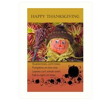 Happy Thanksgiving Scarecrow, Cute and Adorable Art Print