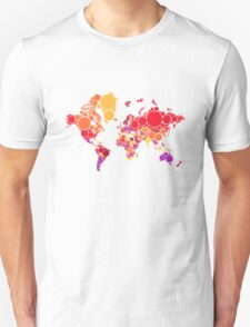 abstract world map with colorful red dots Unisex T-Shirt