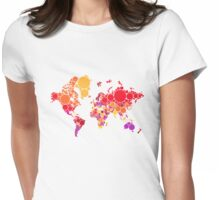 abstract world map with colorful red dots Womens Fitted T-Shirt