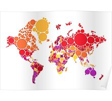 abstract world map with colorful red dots Poster