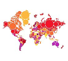 abstract world map with colorful red dots Photographic Print