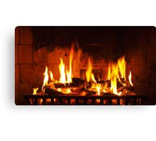 The first fire of the season Canvas Print