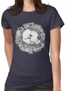 Fox Sleeping in Flowers Womens Fitted T-Shirt
