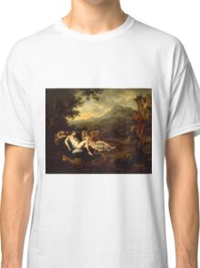 Willem Van Mieris - Cimon And Iphigeniapanel 1698 . Woman portrait: sensual woman, girly art, female style, pretty women, femine, beautiful dress, cute, creativity, love, sexy lady, erotic pose Classic T-Shirt
