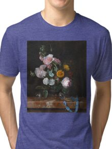 Willem Van Aelst - Vanitas Flower Still Life . Still life with flowers: still life with flowers, flowers, blossom, nature, botanical, floral flora, wonderful flower, plants, garden, vase Tri-blend T-Shirt