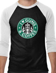 I Love GUNS AND COFFEE Shirt Funny Gun T-Shirt Men's Baseball ¾ T-Shirt