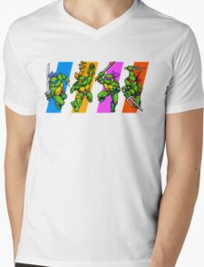 TMNT Turtles in Time Characters Mens V-Neck T-Shirt
