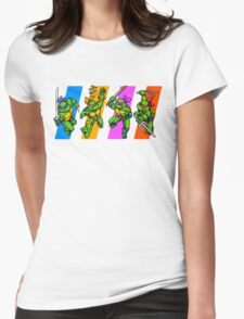 TMNT Turtles in Time Characters Womens Fitted T-Shirt