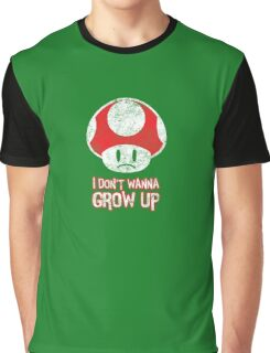 Distressed Mario Mushroom - I Don't Want to Grow Up (Sad Face) Graphic T-Shirt