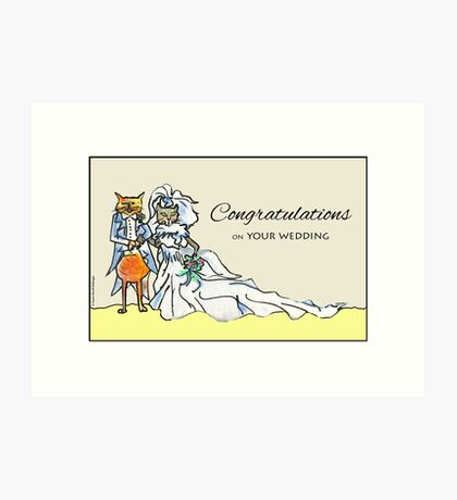 Cat Couple, Congratulations on Your Wedding Art Print