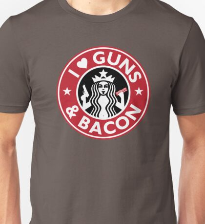I Love GUNS AND BACON Shirt Funny Gun T-Shirt Unisex T-Shirt