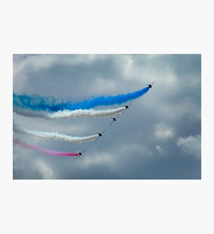 Red arrows emerging through cloudy skies Photographic Print