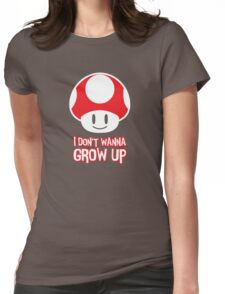 Mario Mushroom - I Don't Want to Grow Up (Happy Face) Womens Fitted T-Shirt