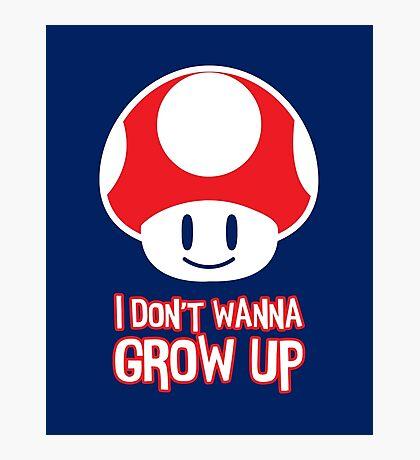 Mario Mushroom - I Don't Want to Grow Up (Happy Face) Photographic Print