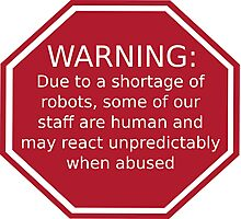 Warning: Due to a Shortage of Robots Photographic Print