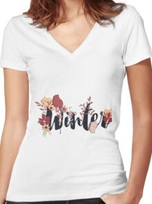 Flowers typography poster design, Winter Women's Fitted V-Neck T-Shirt