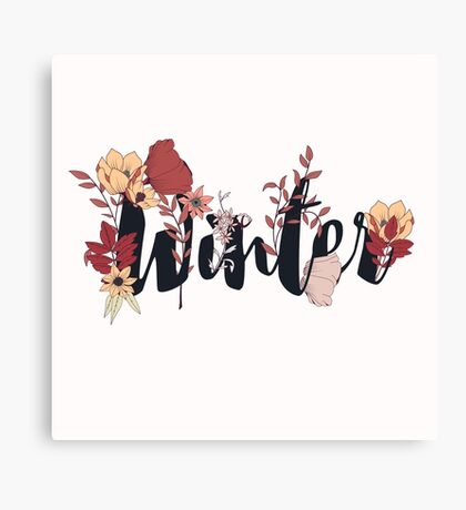 Flowers typography poster design, Winter Canvas Print