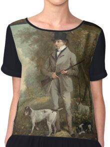 Philip Reinagle - John Hind. Hunter painting: hunting man, nature, male, forest, wild life, masculine, dogs, hunt, manly, hunters men, hunter Chiffon Top