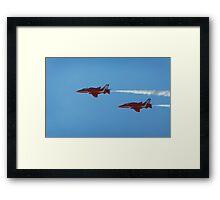 Red arrows flying in tandem  Framed Print