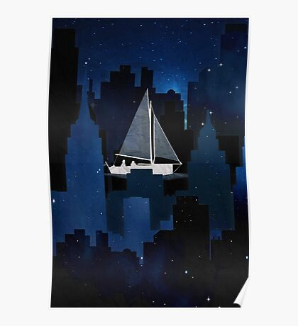 City Sailing at Night Poster