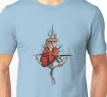Love and Sea (anchor with heart and compass) Unisex T-Shirt