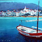 Spain Series 08 Cadaques Red Boat by Yuriy Shevchuk