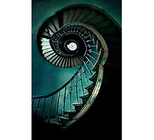 Spiral staircase in green and blue Photographic Print